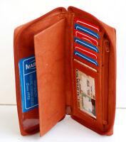 Tan Genuine Leather Checkbook Cover Zip Around Clutch Men Women Wallet