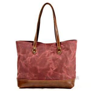 Men Women Oil Wax Canvas Leather Tote Bag Shoulder Bag Travel Bag Wear-resistant