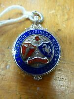Hallmarked Silver Enamelled watch fob LIVERPOOL Sports Cricket Liver 1950 V&S