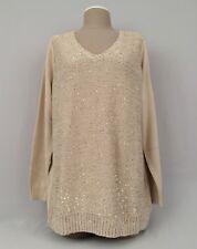 NEW Denim & Company D&CO.Women's Sequin Front Pullover Sweater-BEIGE-Sz. 1X