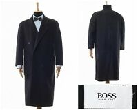 Mens HUGO BOSS Double Breasted Wool Coat Jacket Grey Charcoal Size 40 L 50