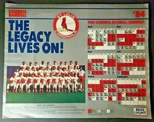 Vintage 1984 St Louis Cardinals Baseball Schedule Team Photo / Bud Light (Z1)