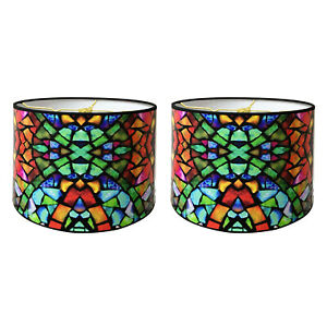 """10"""" Lampshade Mosaic Stained Glass Digital Print - Custom Made"""