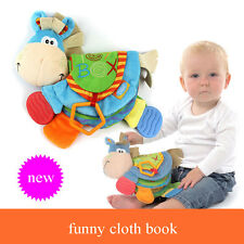 Baby Cute Donkey Animal Cloth Book Teether Toy Education Soft Cloth Book Educate
