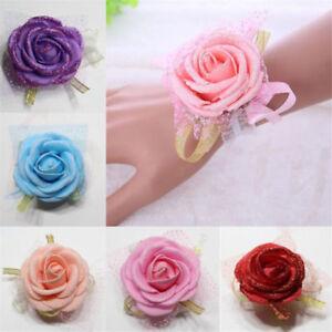 2Pcs Bridal Bridesmaid Hand Wrist Corsage Wedding Elegant Rose Flower Scrunchie