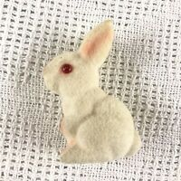 Vintage Flocked Plastic White Bunny Figurine Red Eyes 4in