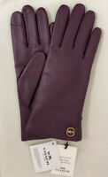 Genuine COACH Tech Gloves for Women Leather w/Wool Lining * Deep Berry MSRP $148