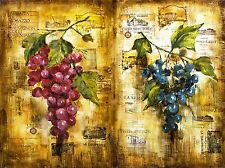 PAINTING COLLAGE WINE GRAPES LABEL VINO VINE FRENCH FRANCE POSTER PRINT LV2419