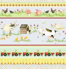 Henry Glass EIEIO by Debbie Taylor-Kerman 6152 41 Scenic Stripe Cotton Fabric