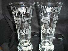 2014 SUPERBOWL 48 CHAMPION SEATTLE SEAHWKS 2 ETCHED LOGO 19 oz PILSNER GLASSES