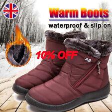 Women Flats Low Heels Fur Lined Waterproof Snow Ankle Boots Slip On Zipper Shoes