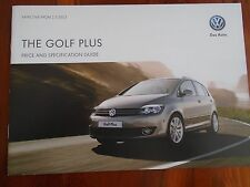 VW Golf Plus price and specification guide brochure May 2013