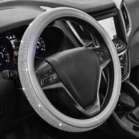 Steering Wheel Cover Gray Diamond Bling Rhinestone Universal Fit 15''