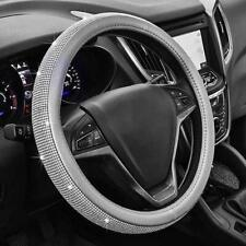 Steering Wheel Cover Gray Diamond Bling Rhinestone Universal Fit 15''