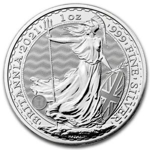 2021 Royal Mint BRITANNIA .999 Fine Silver 1 oz bu coin in Rimless Capsule.