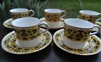5 x ROYAL CROWN DERBY Pompeii COFFEE CANS & SAUCERS Bone China cups yellow