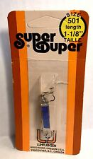 "Vintage Luhr-Jensen Super Duper Chrome / Blue Spoon Fishing Lure (1-1/8"" Long)"
