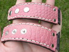 Women watch band strap Apple iPhone pink Alligator leather bracelet 6.5 size