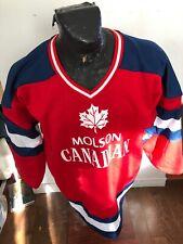 MENS Large Hockey Jersey Fleece Lined Sweatshirt Molson Canadian Beer