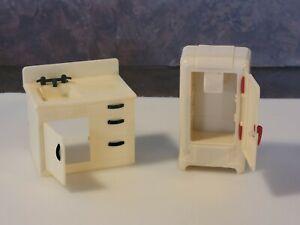 Vintage Renwal Plastic Kitchen Dollhouse Furniture,1950s, refrig and cabinet