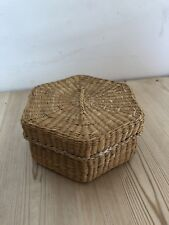 Wicker Trinket Storage Box Hexagon Shape Christmas Gift Stocking Filler (07)