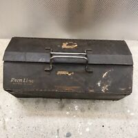 """Vintage Rem Line Tool Box with Tray (L 16.4""""; W 8""""; H 6.5"""") RUSTY CRUSTY OLD BOX"""