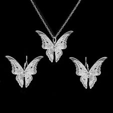 Fashion 925 Silver Ruby Sapphire Emerald Amethyst Pendant+Earrings Jewelry Set