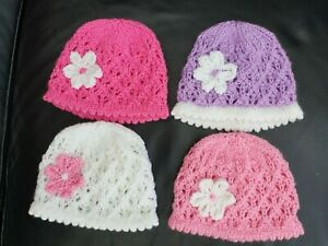 NEW !  NEWBORN BABY GIRL  PRETTY CUTE LACY HAND  KNITTED BABY HAT WITH FLOWER-1