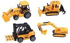 ToyZe® 5 Inch Metal Diecast Construction Vehicle Set, Bulldozer, Forklift, Front
