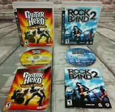 PS3 Lot of 2 Games Guitar Hero World Tour / Rock Band 2 Complete Cases & Manuals