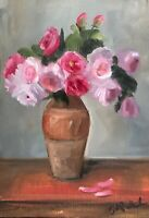 A4 Print of Original oil painting art flowers floral pink roses shabby chic