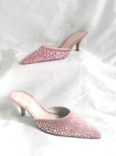 NIB Vintage Unisa Mule Rose Suede & Crystal Rhinestone Low Kitten Heel Slide 6.5