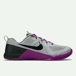 Wmns Nike Metcon 1 UK 4.5 EUR 38 Grey/Vivid Purple/Voltage Green/ 813101 005 New