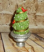 "Doll House Size Topiary Christmas Tree Cardinals Silver Urn 5"" Ornament Figure"