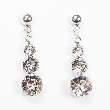 Damen Ohrringe 925 Sterling Silber Swarovski Kristalle Hänger 24 mm Klar Weiß