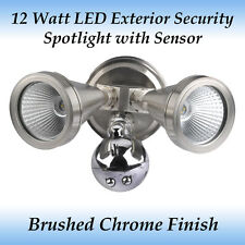 12 Watt LED Exterior Twin Head Security Spotlight in Brushed Chrome with Sensor