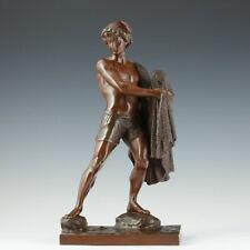 Jean D. Debut Neapolitanischer Fischerjunge um 1850 Bronze Klassizismus Italien