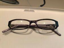 Brand new Bongo Juliet purple horn eyeglasses glasses & case flower temples