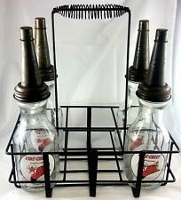FIRE CHIEF HAT TEXACO GAS STATION MOTOR OIL GLASS BOTTLES WITH CARRYING RACK