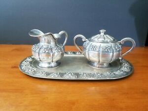 SANBORNS STERLING SILVER AZTEC ROSE SUGAR CREAMER TRAY SET 946 gr. EUC MEXICO