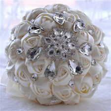 Handmade Flower Silk Crystal Pearl Brooch Wedding Bridal Bouquet white