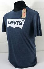 Levis T-shirt Dress Blue With White Batwing Logo Mens