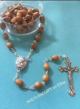 CATHOLIC ROSARY Olive Wood Necklace+pouch Handmade in JERUSALEM ~ FAST SHIPPING