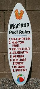 Surfboard wall art, personalized surfboard, pool rules sign, outdoor sign