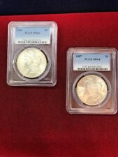 Lot Of 2 PCGS MS64 Morgan Silver Dollars 1886 And 1887