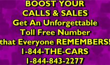 1-844-THE-CARS, PREMIUM TOLL-FREE VANITY PHONE NUMBER TO LEASE FOR $19 /MONTH +