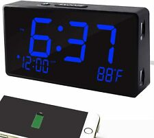 Digital Alarm Clock, Alarm Clocks for Bedrooms with USB Port for Charging,