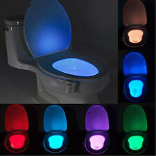 Motion Activated Seat Toilet Bowl Night Light Bathroom LED 8 Color Sensor Lamp e