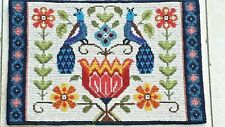 Embroidered Swedish wool wall hanging with peacocks and flowers