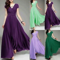 Women Long Formal Evening Prom Bridesmaid Chiffon Ball Gown Cocktail Dress Robe